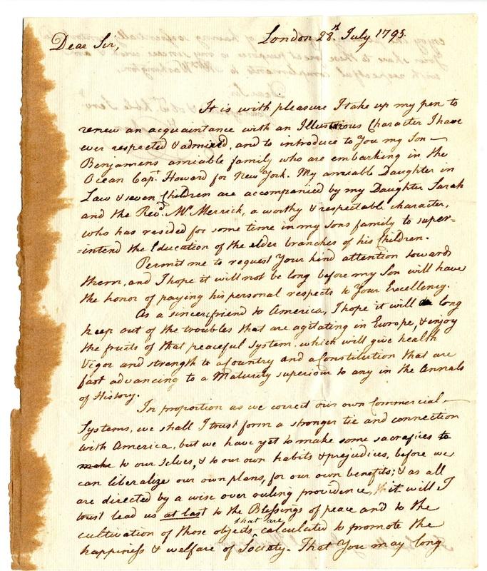 Samuel Vaughan to George Washington