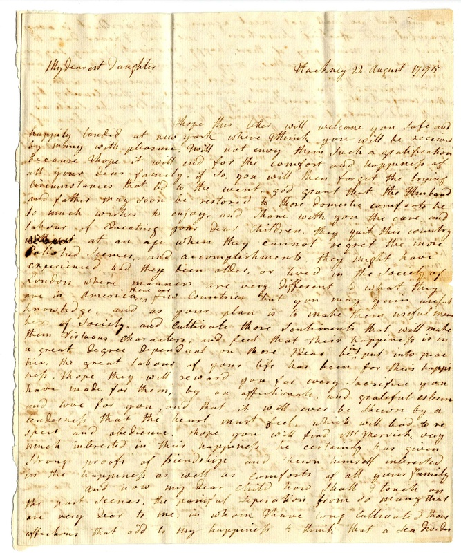 Letter from Sarah Hallowell Vaughan to Sarah Manning Vaughan