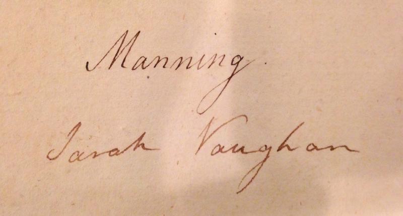 Piano music hand-written by Sarah Manning Vaughan.