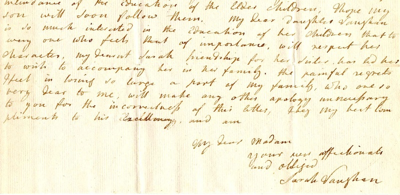 Letter from Sarah Hallowell Vaughan to Martha Washington