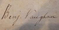 Sarah Vaughan and Benjamin Vaughan's signatures.
